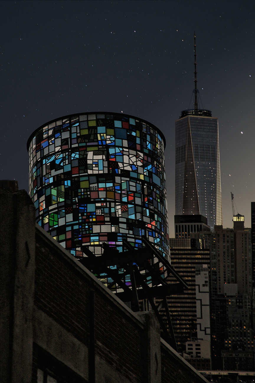 "Stained Glass Water Tower Art on Brooklyn Rooftop over seeing World Trade Center ""Freedom Tower"""